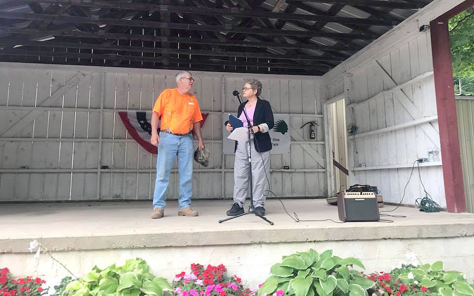 Fair President Deveron Wilcox receiving the 2018 Friend of the Fair award.